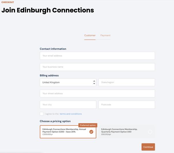 Edinburgh Business Membership Checkout